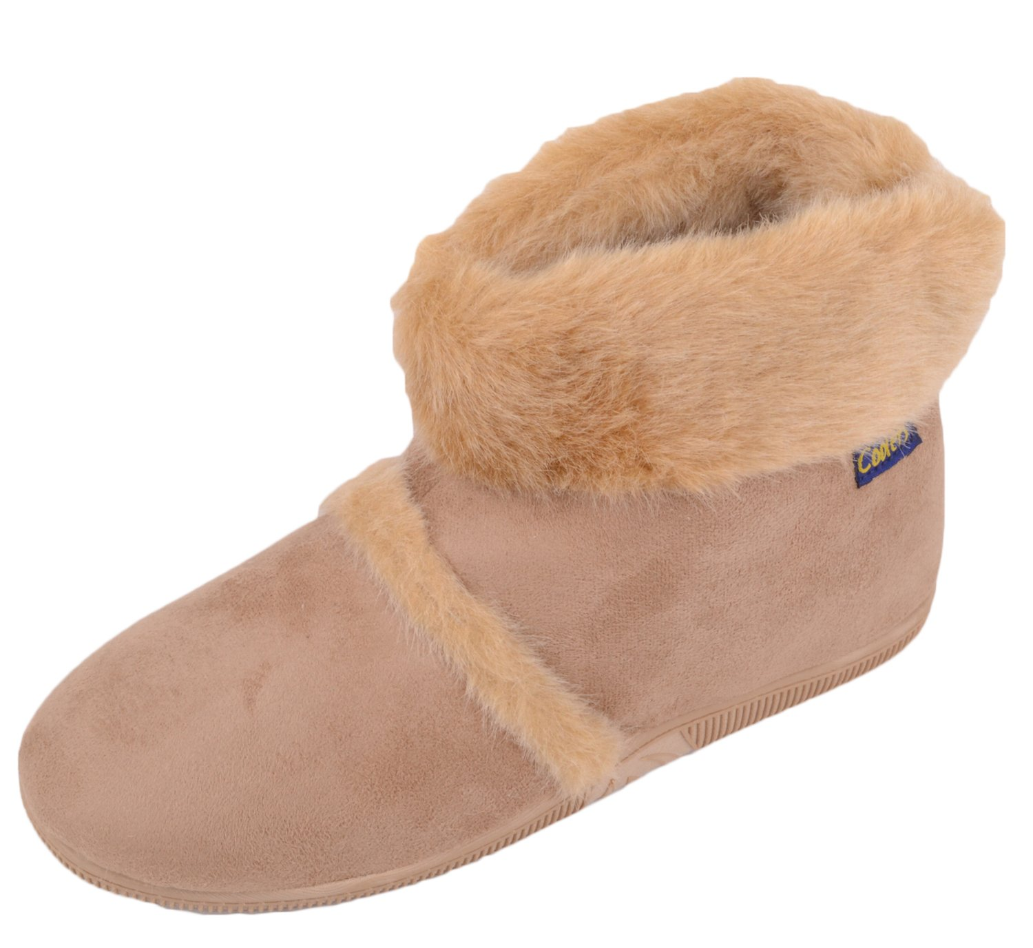 ABSOLUTE FOOTWEAR Mens Slip On Slippers/Boots/Indoor Shoes with Warm Faux Fur Inners - Beige - US 7