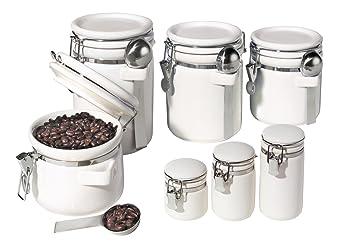 Oggi 7 Piece Ceramic Airtight Canister Set, White