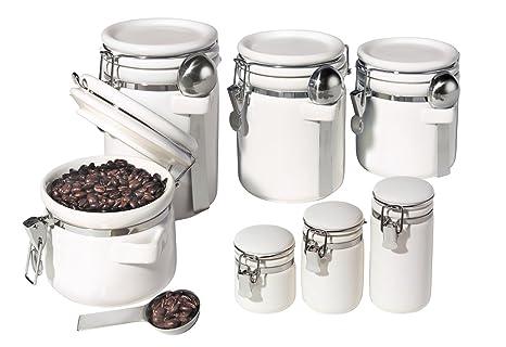 Oggi 7 Piece Ceramic Airtight Canister Set White