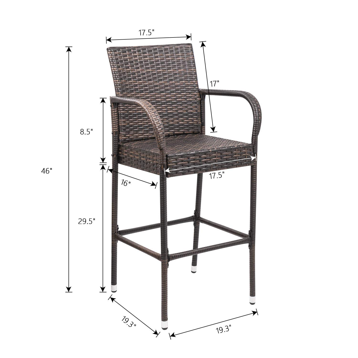 Homall Patio Bar Stools Wicker Barstools Indoor Outdoor Bar Stool Patio Furniture with Footrest and Armrest for Garden Pool Lawn Backyard Set of 2 (Brown) by Homall (Image #6)