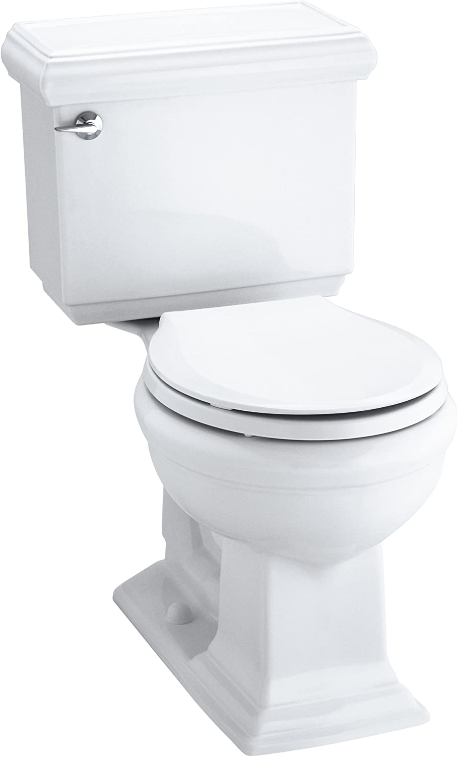 KOHLER 3986-U-0 Memoirs Classic Comfort Height Two-Piece Round-Front 1.28 Gpf Toilet with Aquapiston Flush Technology, Insuliner Tank Liner and Left-Hand Trip Lever, White