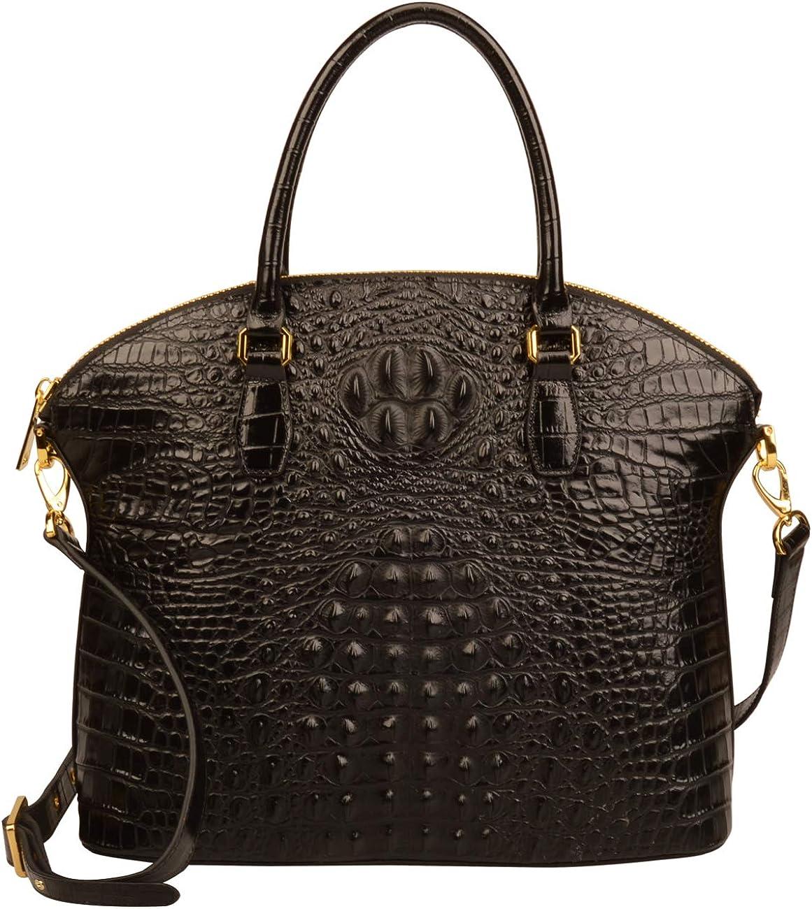 Ainifeel Women's Genuine Leather Crocodile Embossed Large Top Handle Handbags Business Handbags