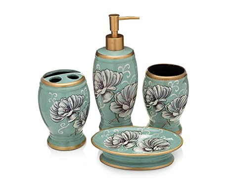 bath accessories 4 piece ceramic set soap dispenser and soap dish toothbrush holder and