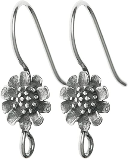 2 pcs .925 Sterling Silver Bali Flower Shield French Hook Earwires Earring Connector Antique Findings