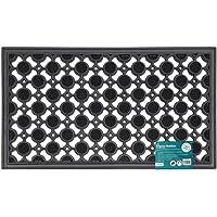 JVL Ellipse Design Cerchi in Gomma Resistente Pavimento zerbino, Nero, 40x 70cm