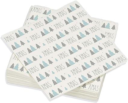 Le Nappage D/écor No/ël Lot de 20 Serviettes Format 33 x 33 cm Serviettes Papier en Pure Ouate de Cellulose Serviettes de Table D/écor/ées Boule de Noel Allover