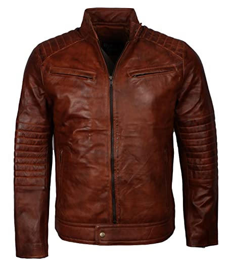 Mens Quilted Sleeves Brown Biker Style Vintage Leather Jacket At
