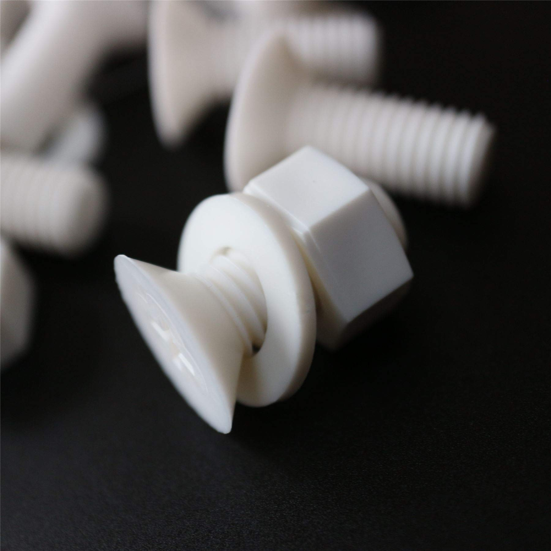 20 x White Countersunk Screws Polypropylene (PP) Plastic Nuts and Bolts, Washers, M8 x 20mm, Acrylic, Water Resistant, Anti-Corrosion, Chemical Resistant, Electrical Insulator, Strong. 5/16 x 25/32''