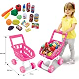 FunkyBuys® Pink Kids Children Boys/Girls Shopping Trolley (SI-TY1016) Cart w/ Fruits & Vegetables Kids Play Set Toy Basket for Toy Shop Kitchen Over