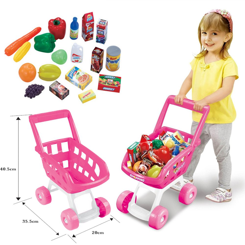 FunkyBuysR Pink Kids Children Boys Girls Shopping Trolley SI TY1049 Cart W Fruits Vegetables Play Set Toy Basket For Shop Kitchen Over