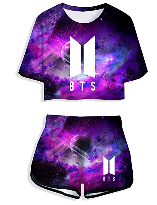 Herqw61 Damen BTS Bangtan Boys T-Shirt & Kurze Hose Set Kurzarm Crop Top & Shorts Sommer Oberteile & Jogginghose Sport Set