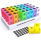 AUVON Monthly Pill Organizer (2 Times a Day), 30 Day One Month Pill Box Case with 31 Removable XL AM PM Compartments to Hold