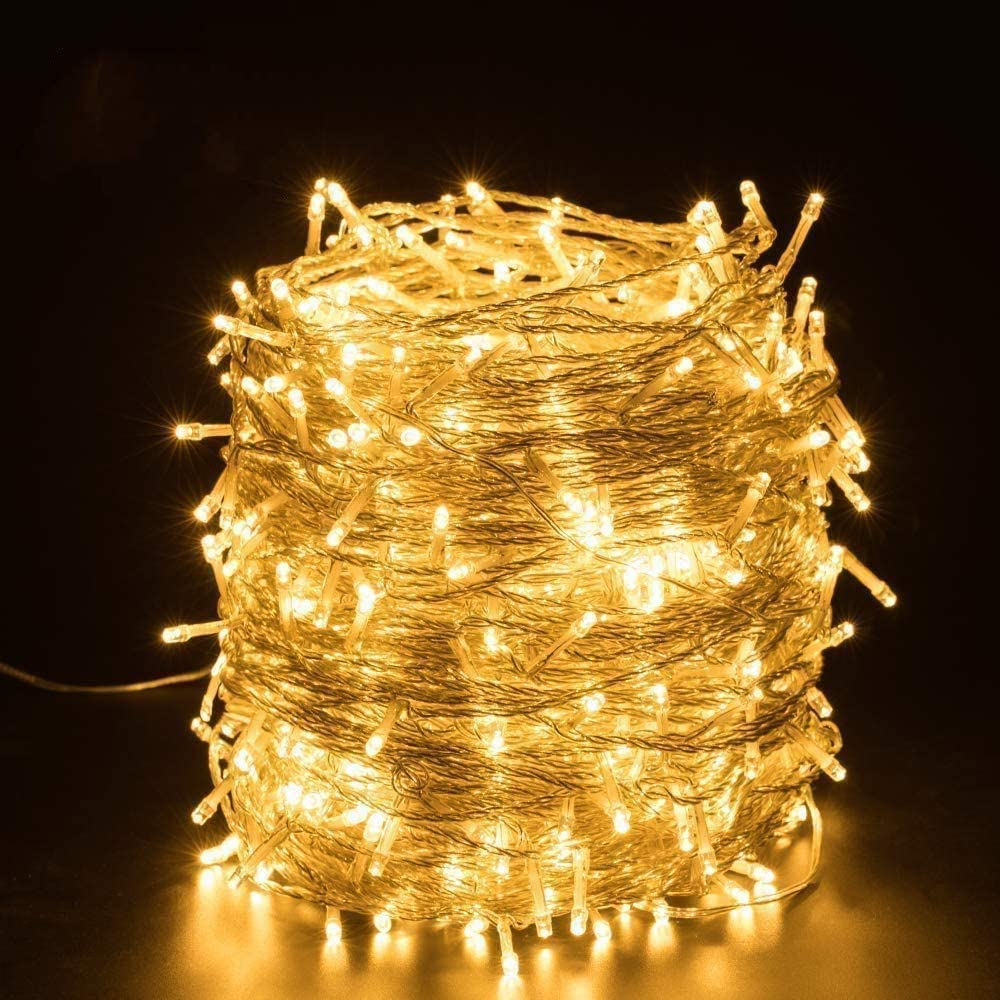 COSFLY Outdoor Chrisatmas String Lights White 105FT 300LEDs UL Certificated Twinkle Christmas Tree Lights Green Wire Halloween Xmas String Lights for Wedding Party Indoor or Outdoor Decoration