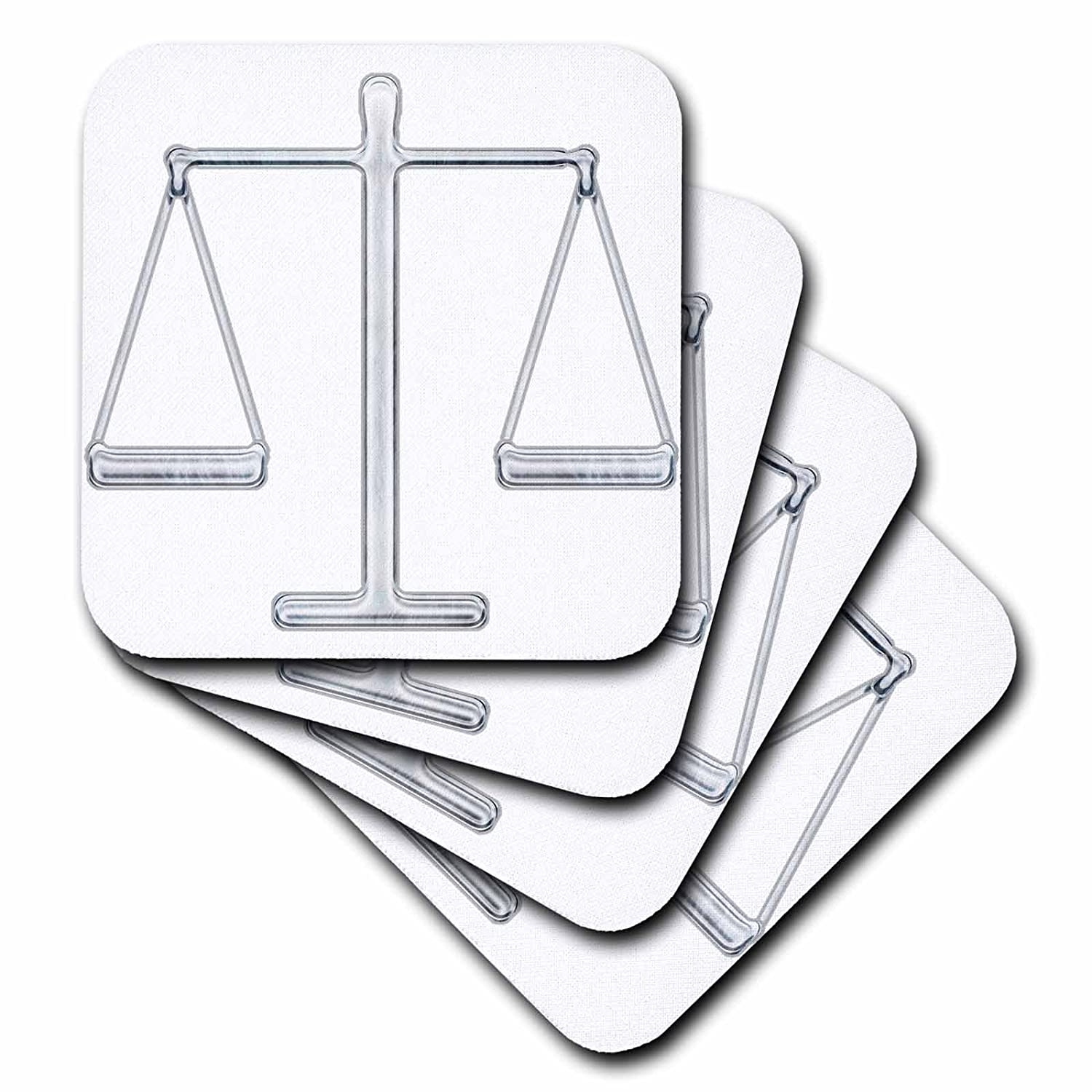 Set of 4 3dRose cst/_41806/_3 Scale of Justice Chrome Ceramic Tile Coasters
