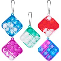 5Pcs Mini Fidget Toy Push Pop Bubble Keychain Toy, Anxiety Stress Reliever Hand Toys, Office Desk Squeeze Sensory Toys…