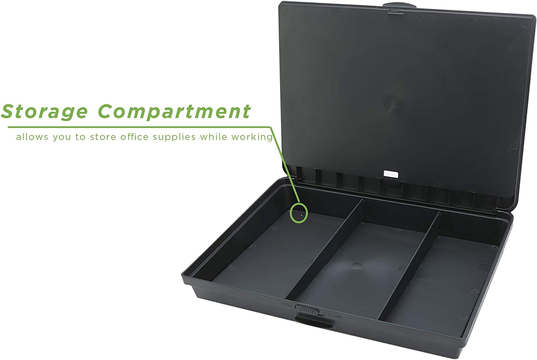 12.5 D x 17 W x 3 H Lavagna portatile regolabile a 8 posizioni Mind Reader LTADJUST-BLK con cuscinetti integrati Nero Plastica