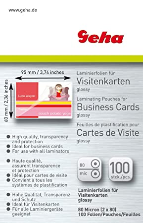 Geha Laminating Film 80 Micron Business Card Format Pack Of