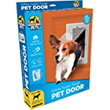 """Hakuna Super Tough Pet Door for Dogs & Cats, Flap Sizes 9.4"""" x 6.7""""/11.4"""" x 8.9""""/16.7"""" x 11.6"""", Removable Tunnel for Doors Walls & Screens, 2 Way Locks, White"""