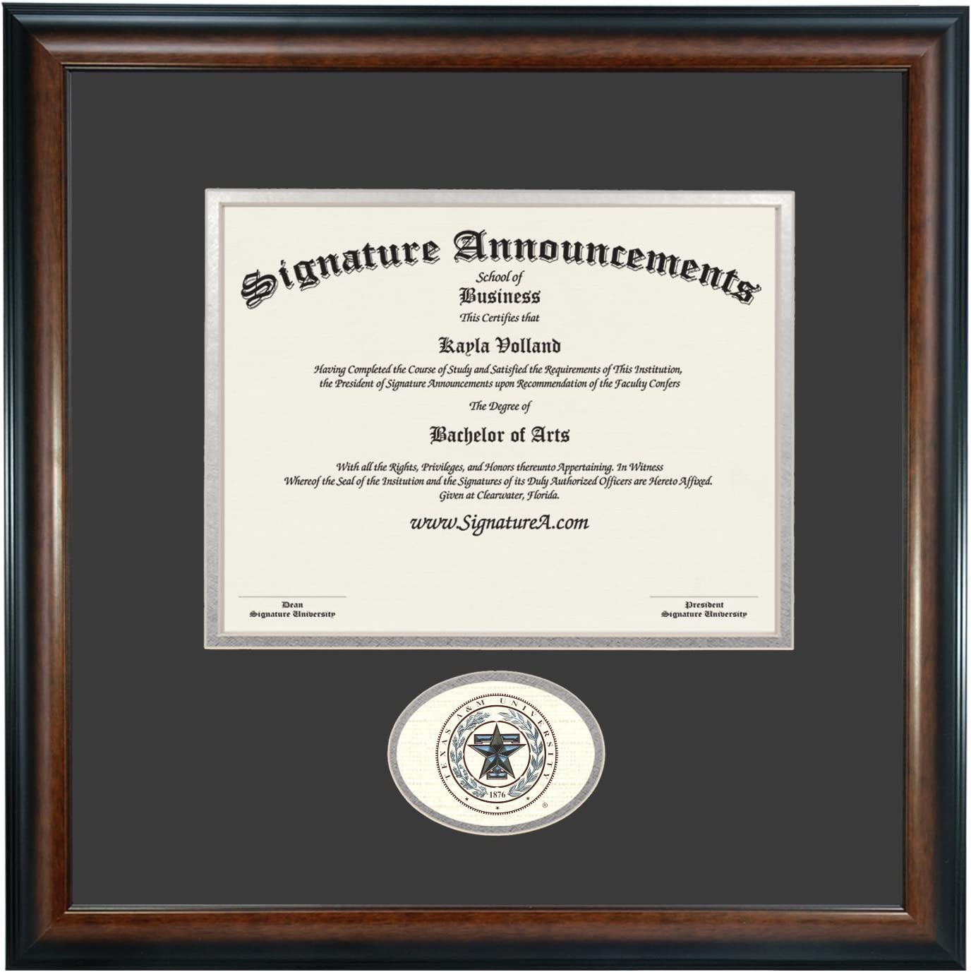 Signature AnnouncementsTexas-A/&M-Health-Science-Center-College-of-Pharmacy Undergraduate Doctorate Sculpted Foil Seal /& Name Graduation Diploma Frame 20 x 20 Matte Mahogany