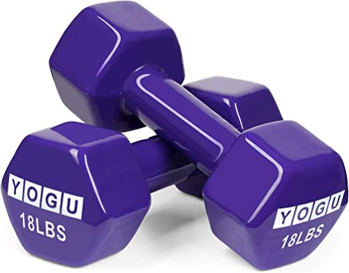 YOGU Neoprene or Vinyl Dumbbells Anti-Roll Hexagonal Dumb Bell Weights Compact and Color-Coded Non-Slip Grip for Men and Women Toning Cardio and Yoga Exercise Fitness Workout Dumbbell – Set of 2