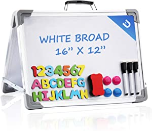 Small Dry Erase White Board,16x12 Inches Foldable Double Sided Portable Magnetic Mini Whiteboard for Kids Students Teacher Office and Home,School