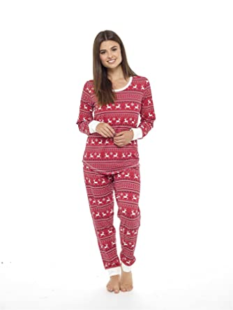 Daisy Dreamer Women s Jersey Fair Isle Reindeer Pyjamas Twosie ... 26c97e4a4