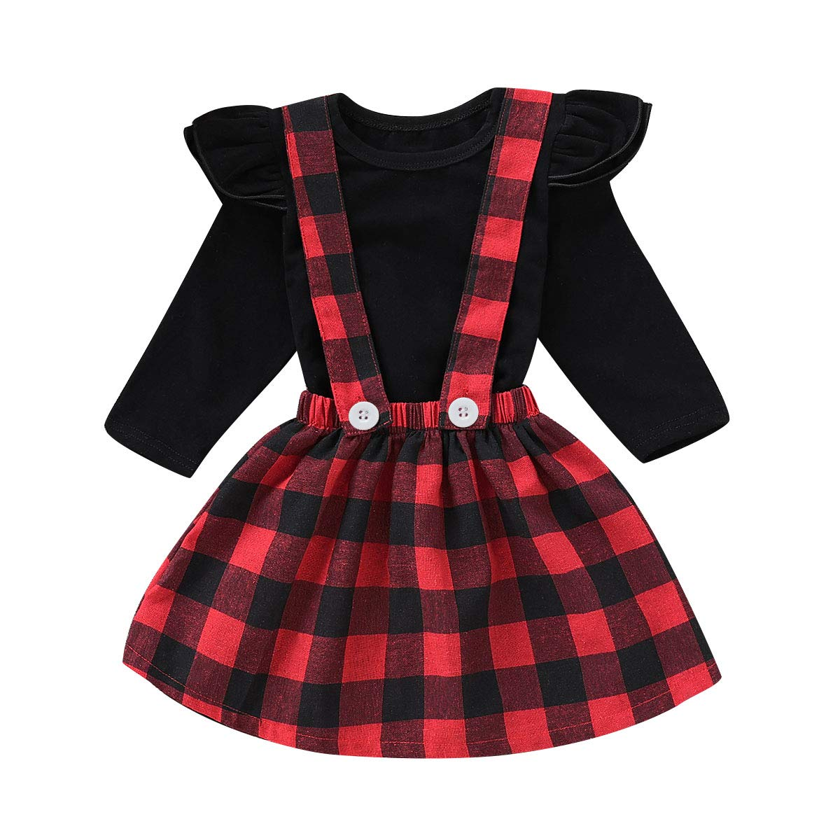Tianhaik Baby Toddler Girls Ruffles Sleeve Outfits Solid Tops Suspender Skirt Overall Set