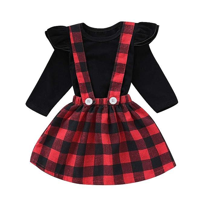 Recién Nacido Bebé Niñas Trajes de Navidad Camisa A Cuadros ...