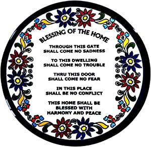 Bluenoemi Gifts Housewarming Gift Armenian Ceramic Home Blessing Plate English Blessing for The Home 17 cm