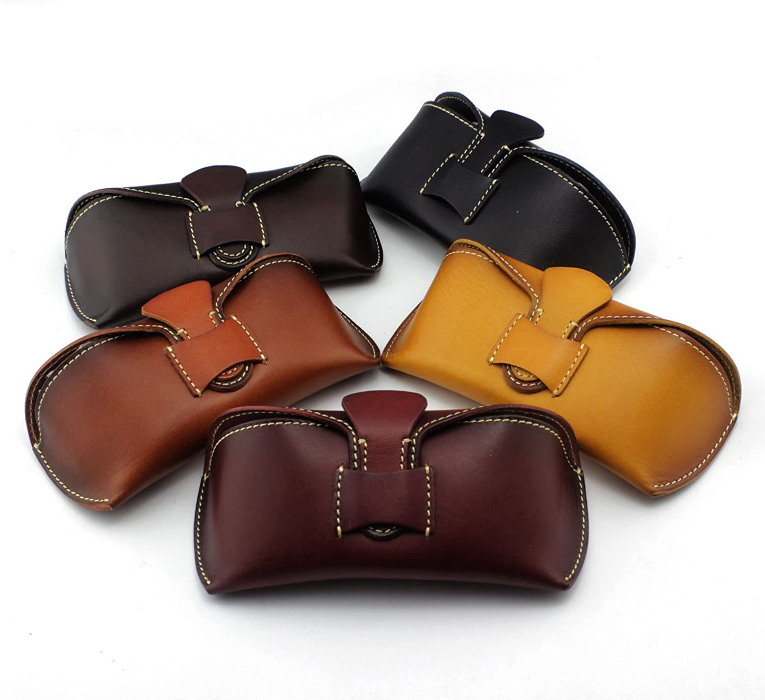 5 Color Genuine Leather Vintage Handmade Glasses Case Sunglasses Pouch Gift