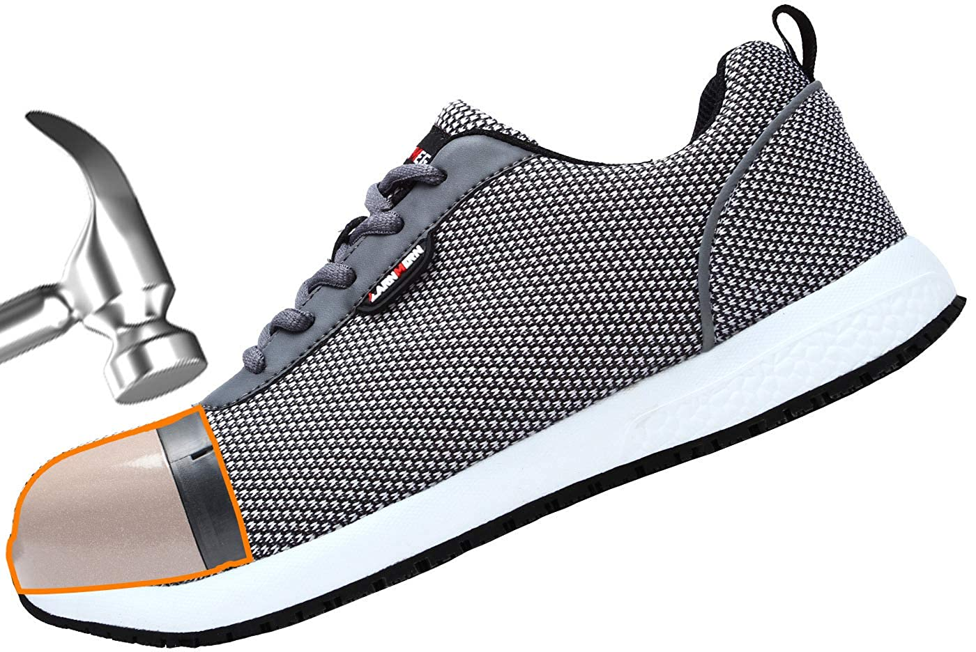 Work Safety Sneakers Reflective Strip Lightweight Industrial /& Construction Shoe LARNMERN Steel Toe Shoes Men