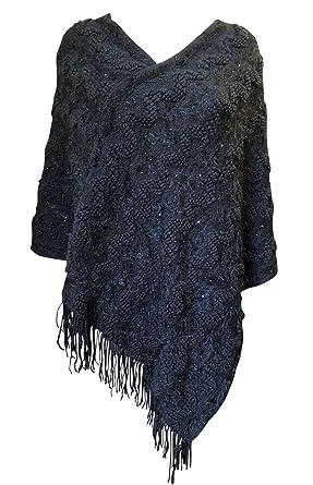 Para Mujer De Piel Sintética Poncho del cabo Abrigos De Alta Calidad De Material Suave (Negro): Amazon.es: Ropa y accesorios