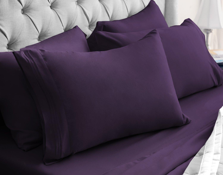 Luxor Linens - 6-Piece Sheet Set - Hotel Quality Giovanni Collection Egyptian Comfort Sheet Set - Queen - Plum
