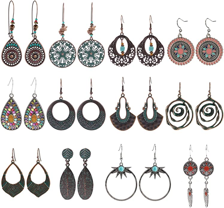 Colorful Bohemian Feather Dangle Drop Earring Gifts for Women Girls Jewelry000001000555