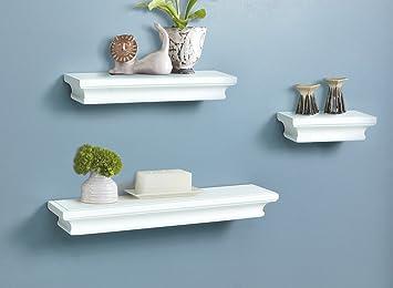 Amazon.com: Decorative White Wood Wall Shelf Set of 3pcs: Home ...