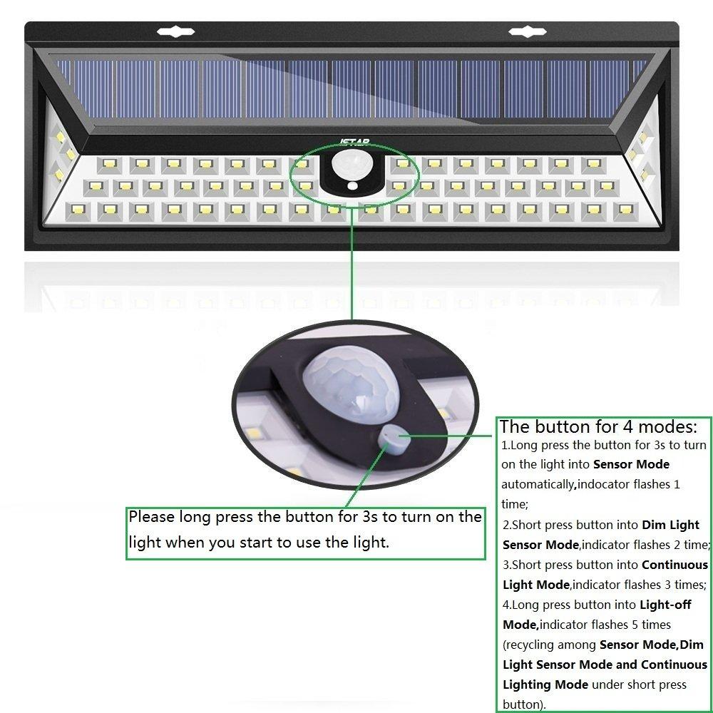 Panel solar de 54 LED súperbrillantes y sensor de movimiento, con luces en ambos lados, sensor de ángulo de 160º y eficiencia solar de hasta 24 %, ideal ...