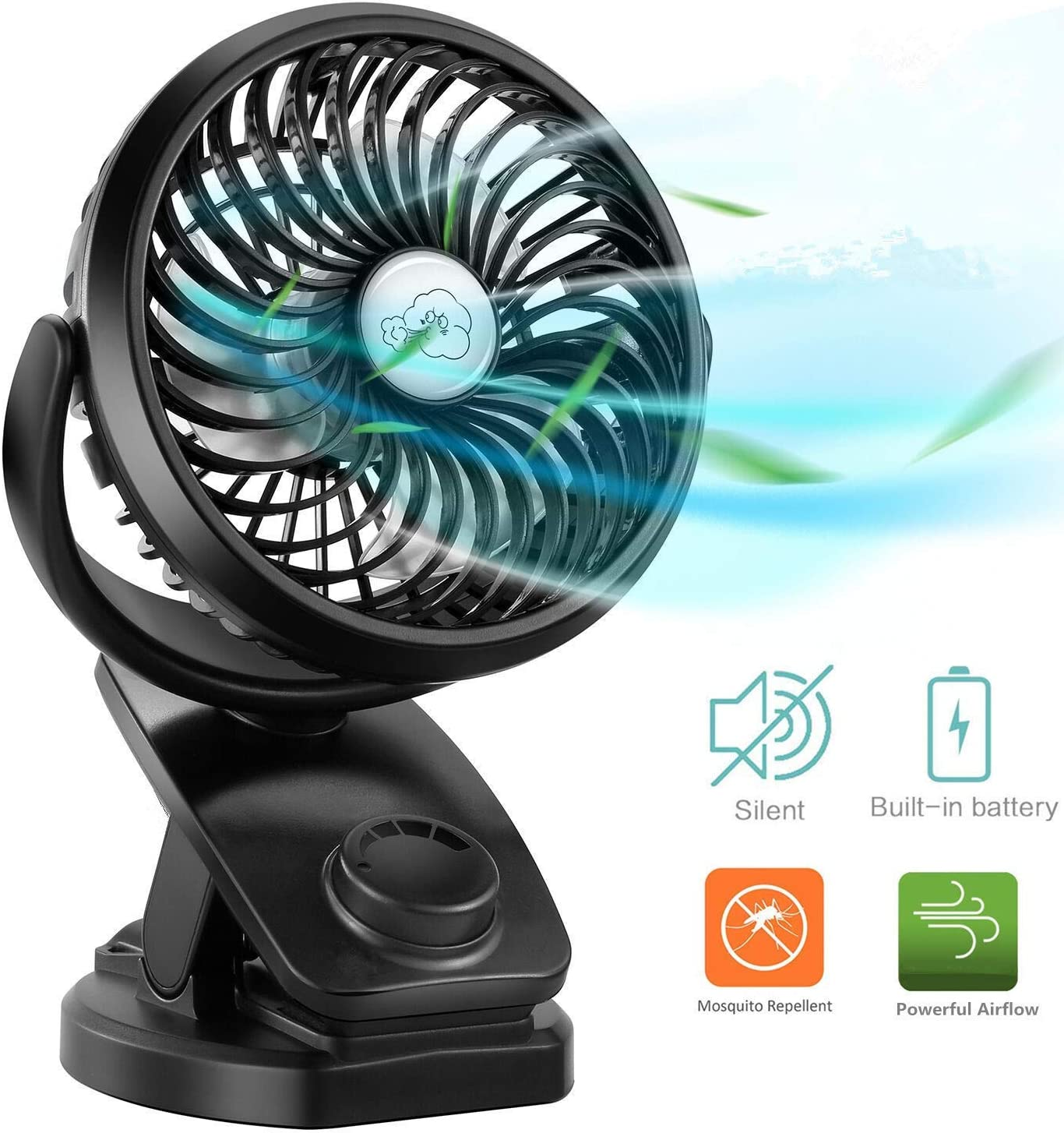 Hot Infant Stroller Clip-On Mini Fan Safe Portable USB /& Battery Operated Random