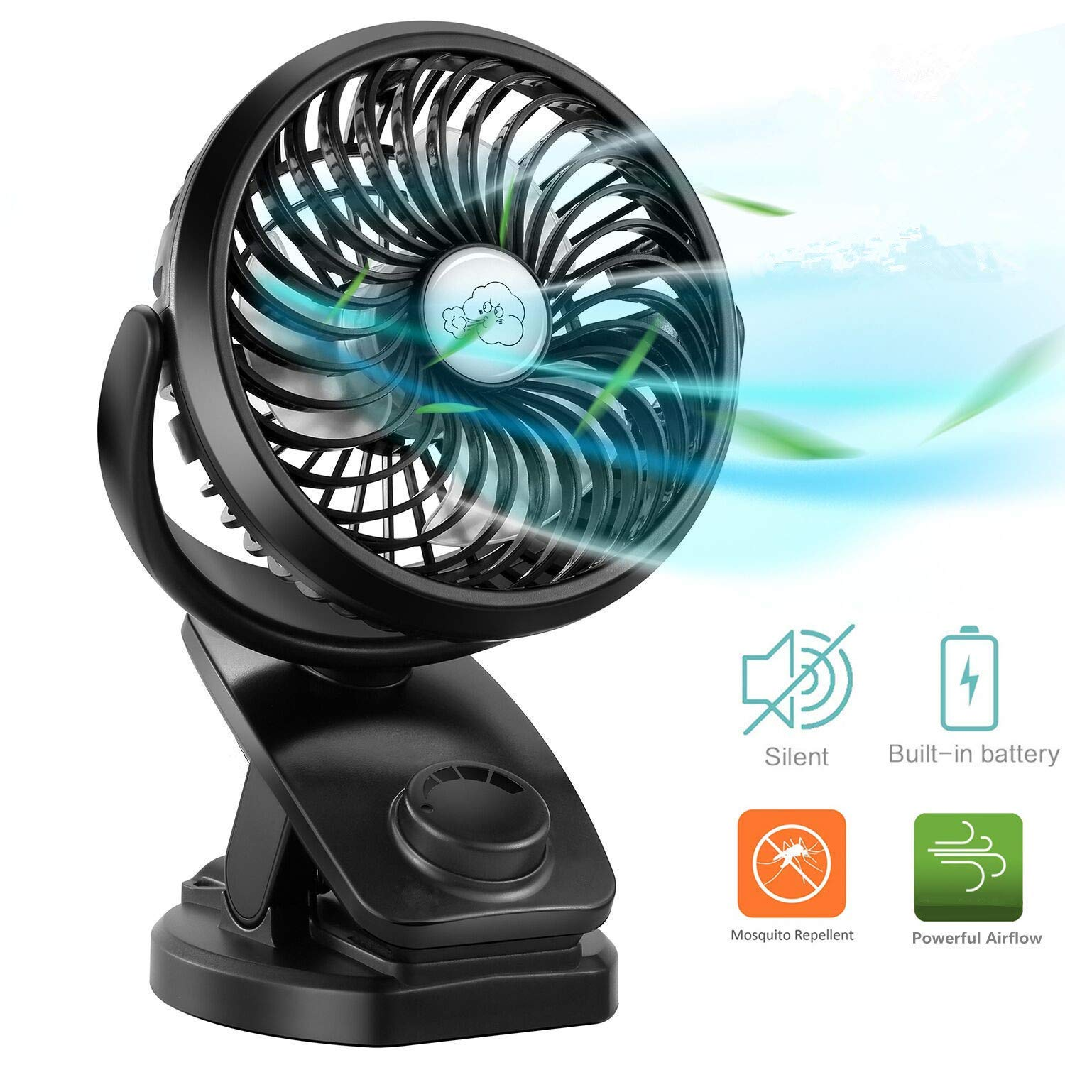 COMLIFE Portable Fan F150, USB Desk Fan with Rechargeable 4400 mAh Battery,Mini Clip on Fan with Powerbank &Aroma Diffuser Function,Stepless Speeds, Ideal for Stroller, Camping, Office, Outdoor,Travel by COMLIFE (Image #1)