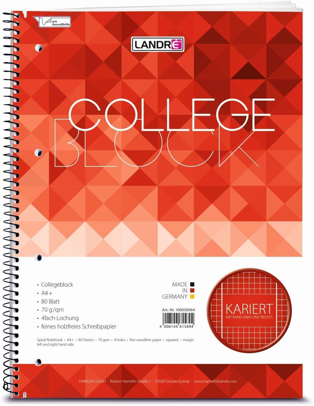 """1 Stück LANDRÉ Collegeblock /""""college/"""" DIN A4 kariert 80 Blatt"""