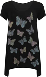 20 Plus Size 18 22//24 Turquoise Butterfly Print Dipped Back Tunic