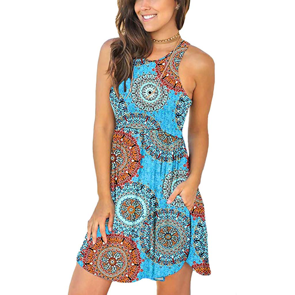 Alangbudu Women's T Shirt Sleeveless Loose Plain Pleated Dresses Casual Short Tank Ethnic Style Swing A-Line Dress Blue