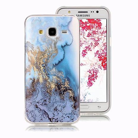 Funda Mármol para Samsung Galaxy J5 2015, Ronger Carcasa Gel TPU Silicona Marble Case Cover Funda Ultra Fino Flexible con Patrón de Piedra para Funda ...