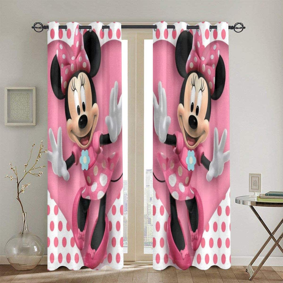 Mickey Mouse Minnie Blackout Curtains Drapes Top Insulation Blackout Curtain Symmetrical 2 Panels for Bedroom Living Windows Childrens Room,52w X 72l Inches