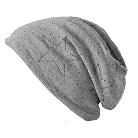 Jersey Slouch Beanie Long Mütze mit Strass