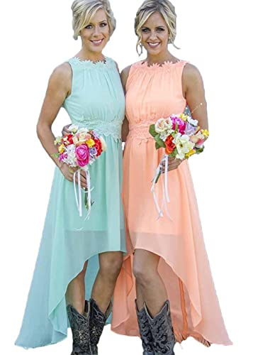 Ruiyuhong Women's High Low Lace Chiffon Mint Orange Beach Bridesmaid Dress
