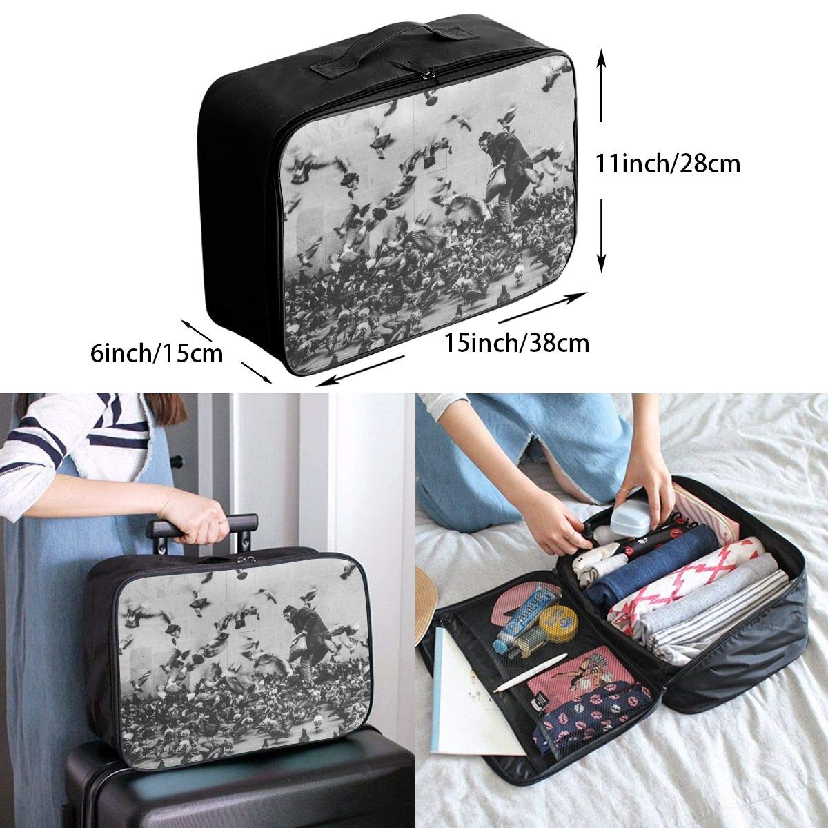 Travel Luggage Duffle Bag Lightweight Portable Handbag Black White People Dove Print Large Capacity Waterproof Foldable Storage Tote