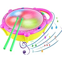 Mqfit Flash Drum with Sticks - Pink and Yellow