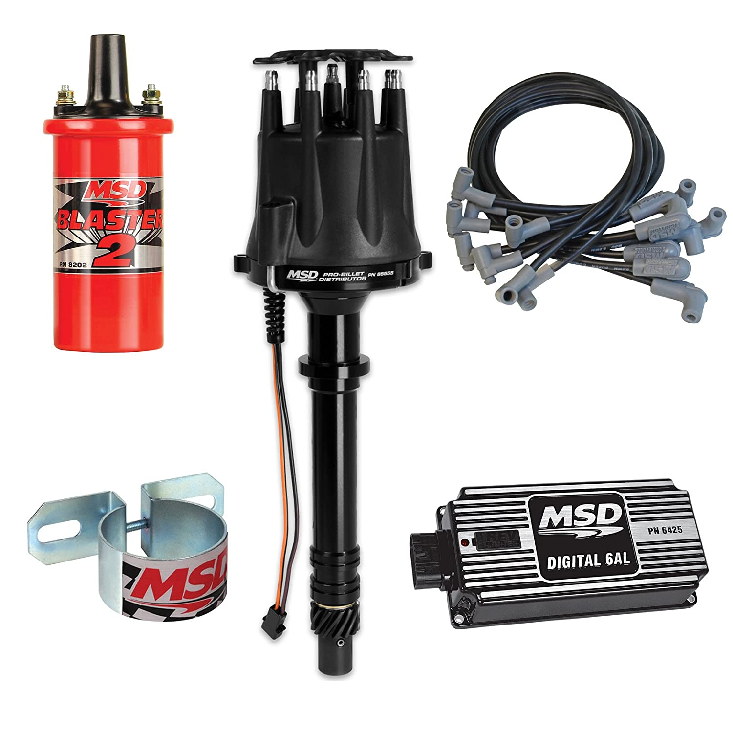 Msd Complete Ignition Kit Chevy Sbc Digital 6al Distributor With Wiring Wires Coil Bracket Automotive