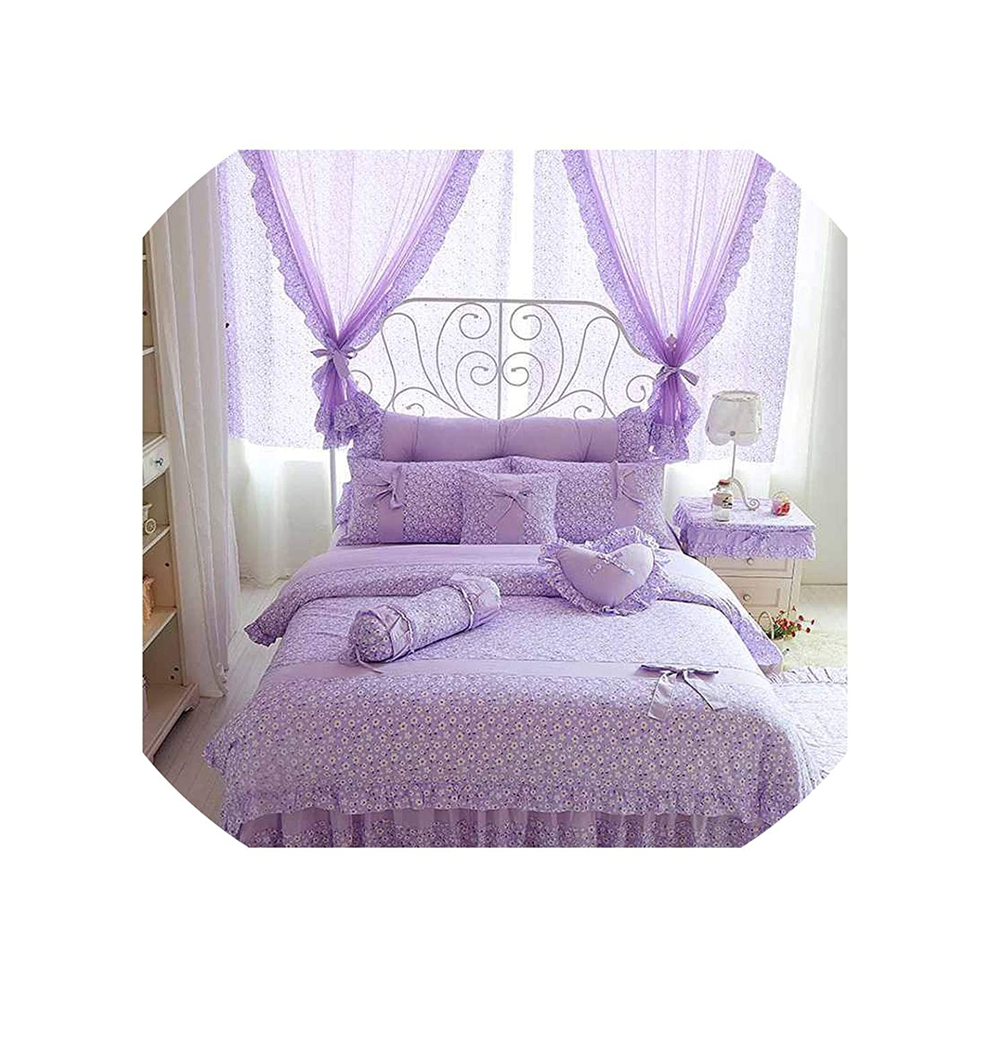 Cherry Printing 100 Cotton Bedding Sets King Queen Size Bow Design Quilt Cover Ruffles Bedspread Bed Linen Pillowcases 4/6/8Pcs,Purple Without Lace,King Size 8Pcs