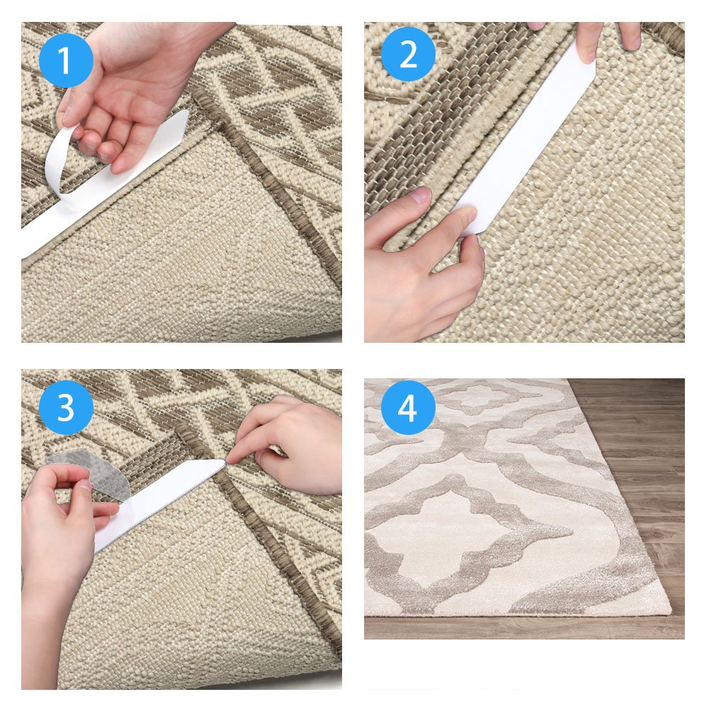 SUAYLLA 8 pcs White Anti Curling Rug Gripper. Anti Slip Straight Carpet Gripper for Corners and Edges - Renewable Rubber Tape for Carpets - Ideal Rug Stopper For Kitchen Bathroom